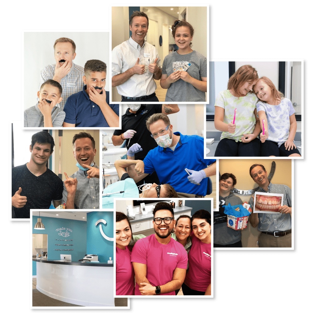 Collage of GB Smiles office and patients