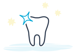 Icon of single tooth with sparkle